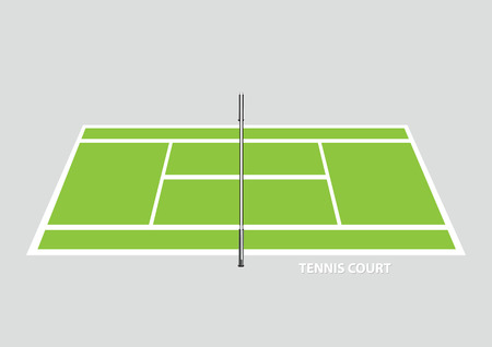 elevated view: Empty tennis court with divider net in the middle, viewed from the side in elevated view. Vector illustration isolated on plain background.