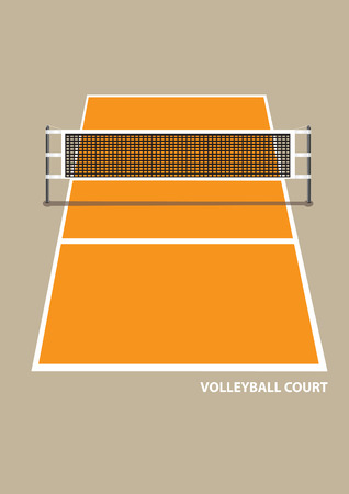 elevation: Vector illustration of a volley ball court with net in elevation view from one end isolated on brown plain background.