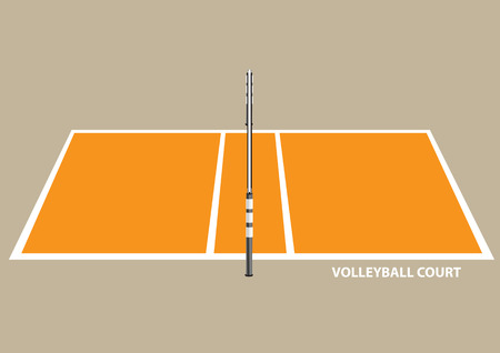 plain background: Vector illustration of a volley ball court with net isolated on brown plain background.