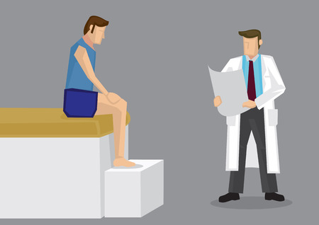 tee shirt: Cartoon vector illustration of sport athlete in tee shirt and shorts sitting on edge of clinic bed with therapist standing beside reading medical report. Illustration