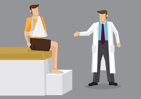 Cartoon man with bandage arm in arm sling sitting on bed and doctor standing beside him. Vector illustration on injury treatment concept isolated on grey background.