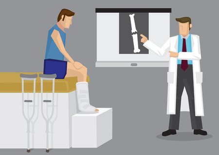 explaining: Orthopedic specialist explaining X-ray film with broken bone to patient with leg in plaster cast. Vector illustration on medical and orthopedic concept.