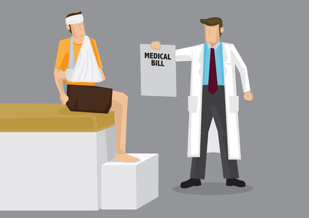 medical bills: Cartoon character in white robe as health care provider handing bandaged man a huge medical bill. Vector illustration on medical cost concept isolated on grey background.
