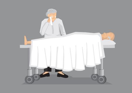 El viejo hombre acostado en la cama del hospital y una anciana llorando a su lado. Ilustración del vector en la muerte y el duelo concepto aislado sobre fondo gris.