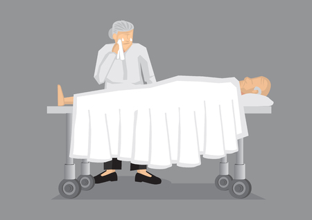 woman lying in bed: Old man lying on hospital bed and an old woman crying by his side. Vector illustration on death and mourning concept isolated on grey background. Illustration