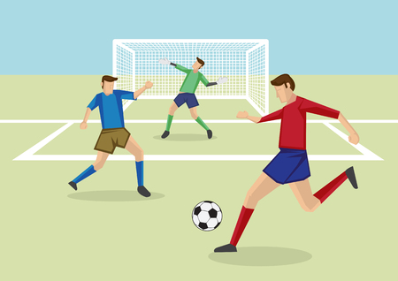 striker: Vector cartoon illustration of striker kicking soccer ball in penalty area with defender and goalkeeper in front of goal posts.