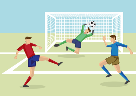 attacker: Vector cartoon illustration of goalkeeper leaping to catch soccer ball in hand together with two soccer players from opposite teams in soccer field.