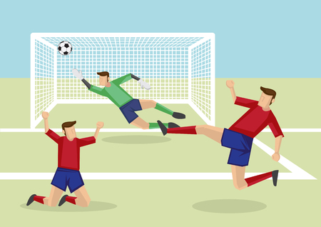 forwards: Exciting scene of attacker kicking soccer ball into the net to score victory and goalkeeper fail to save the goal. Vector cartoon illustration of association football sport in action. Illustration