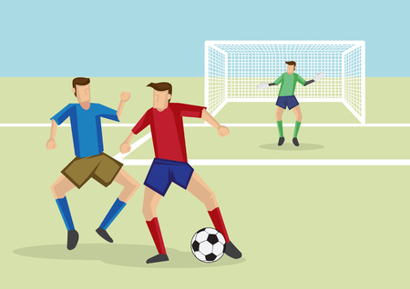 closely: Soccer players dribbling soccer ball with defender marking and guarding closely. Cartoon vector illustration for association football sport.