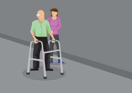 social work aged care: Young woman holding on to an old man with a walking frame. Vector cartoon illustration in caring for elderly concept.