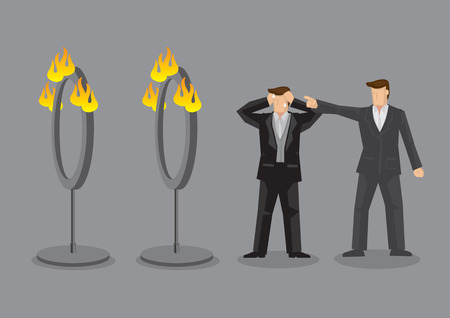 Employer demand stressed employee to go through fire rings. Vector cartoon illustration on unreasonable boss and impossible mission concept. Illustration