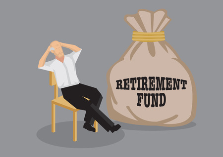 financial security: Old man sit back on chair in relaxed pose with a big sack that says retirement fund. Creative vector cartoon illustration on financial security for old age concept isolated on grey background.
