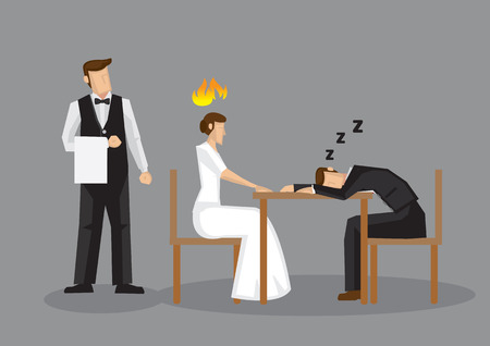 Worn out cartoon man fell asleep over formal dinner, leaving his female partner pissed. Vector illustration of an unromantic dinner date isolated on grey background.