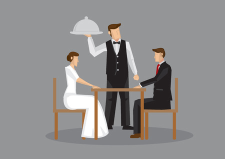 attire: Cartoon man and woman in formal attire sitting at table and waiter with serving tray at the side. Vector illustration of a romantic dinner date isolated on grey background. Illustration