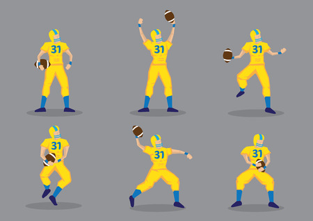 american football helmet set: Set of six vector illustrations of American football player wearing yellow uniform and protective sport helmet, holding a football isolated on grey background.