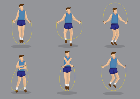 crisscross: Cartoon man holding rope and jumping in various style. Set of six vector character illustration for health and fitness concept isolated on grey background.