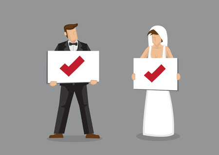 compatibility: Bride and groom characters in wedding dress and tuxedo holding placard with check symbol. Cartoon vector illustration on marriage and compatibility concept isolated on grey background.