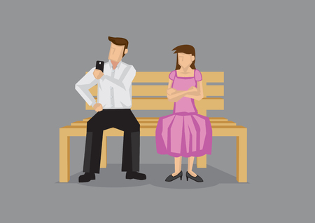 impolite: Cartoon man checking his mobile phone on a date and neglecting girlfriend, leaving her pissed. Vector cartoon illustration on technology and social etiquette concept isolated on plain grey background.