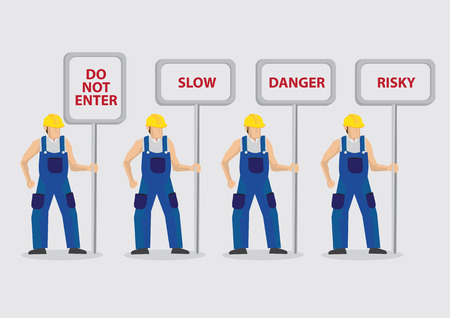 sign posts: Set of four vector illustrations of construction worker character carrying sign posts with warning messages isolated on plain background. Illustration