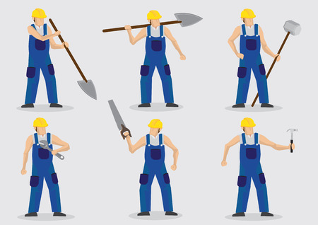 blue overall: Set of six illustration of manual worker wearing blue overall and yellow helmet and holding different tools isolated on plain background. Illustration