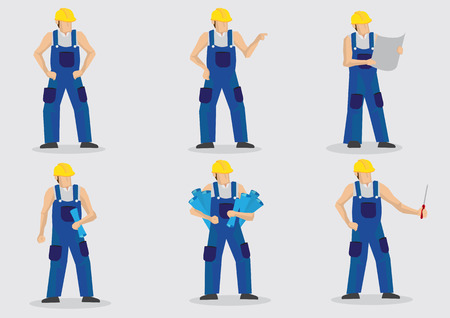 Set of six illustrations of construction worker wearing blue overall work clothes and yellow helmet in various gestures and poses isolated on plain background. Illustration