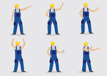 Set of six illustrations of cartoon construction worker wearing yellow protective work helmet and blue overall in various gestures isolated on plain background.
