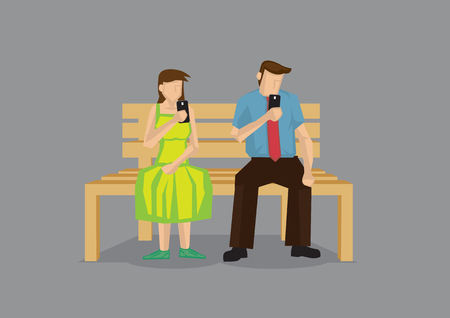 engrossed: Cartoon man and woman busy texting with mobile phone during date. Illustration