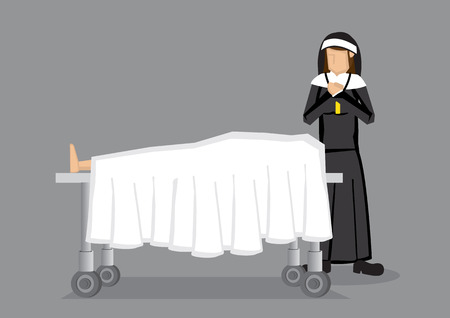 black nun: Sister nun in black religious habit standing and saying prayers by a dead body on death bed