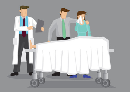 life event: Doctor with a couple weeping over a dead body covered in white sheet on wheeled bed.