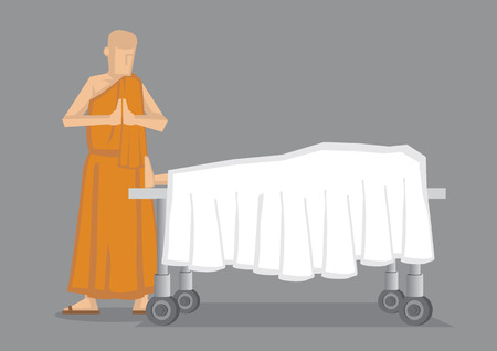 Cartoon illustration of a Buddhist monk in yellow robe standing with palms together by dead body covered in white sheet on wheeled bed.