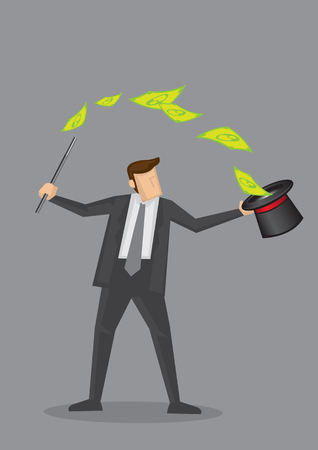 Businessman holding magic wand and dollar note flying out of magicians hat. Creative cartoon illustration on make money and wealth management concept isolated on grey background.