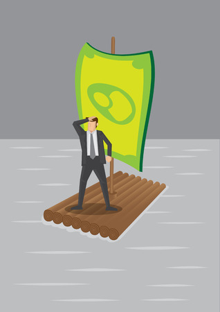 illustration of a businessman stranded on wooden raft with money sail surrounded by water.