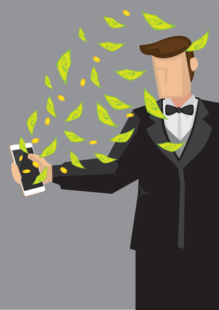 passive earnings: Rich man wearing tuxedo suit holding mobile phone with money flying out. Creative cartoon illustration on making money using modern technology concept isolated on grey background.