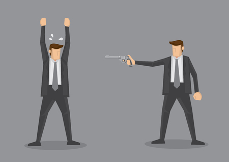 Frightened businessman raised up hands at gunpoint. illustration on violence concept isolated on grey background.