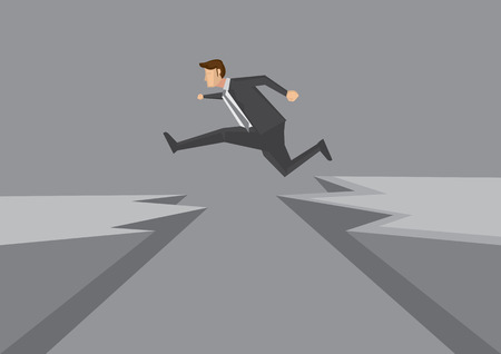 overcoming: Cartoon man in business suit jumps from one rocky cliff to another. Creative illustration for overcoming obstacles and risk taking concept isolated on grey background.