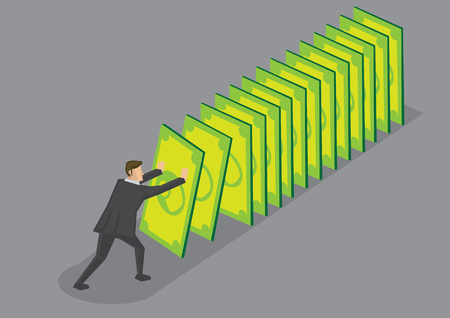 Businessman pushing money cards setting off falling chain reaction. Creative cartoon illustration for financial and currency crisis metaphor isolated on grey background. Illustration