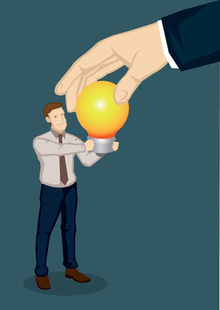 A giant hand taking a lit light bulb from a business professional.