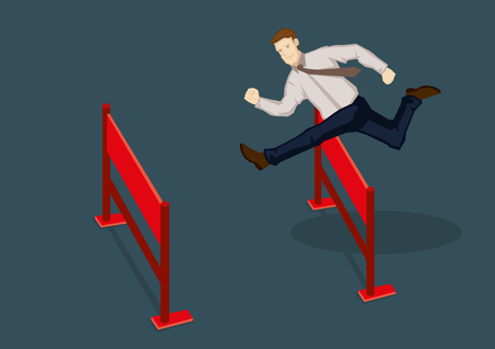 businessman jumping: Young confident businessman jumping over hurdles