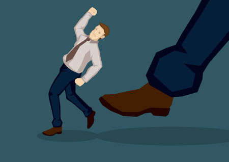 kick out: Business executive get kicked in the butt by a giant foot