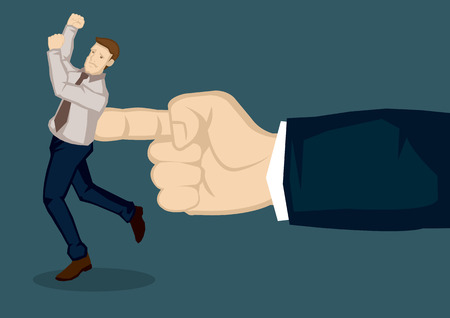 poke: A giant hand pushing at business executive. Creative illustration on metaphor for giving the push at work isolated on green background.