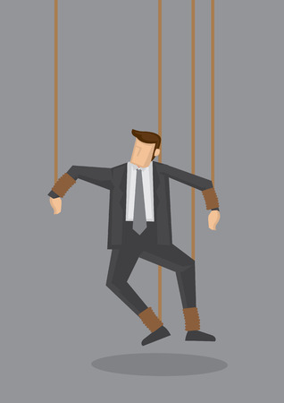 helpless: Business executive with legs and hands tied with strings like a puppet. Creative illustration for business concept isolated on grey background.