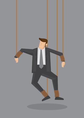 gefesselt: Geschäftsmann mit Beine und Hände mit Saiten wie eine Puppe gebunden. Kreative Illustration für Business-Konzept auf grauem Hintergrund.