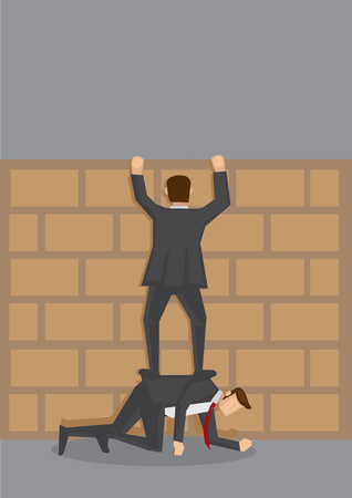 furtive: cartoon illustration of adult businessman in suit trying to climb over brick wall by standing on the back of his friend who is crouching on all fours on the floor.