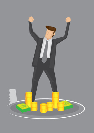 Cartoon business executive standing in front of a pile of money, feeling rich and powerful, oblivious of a saw cutting a hole beneath him. Creative illustration for concept on danger of complacency.