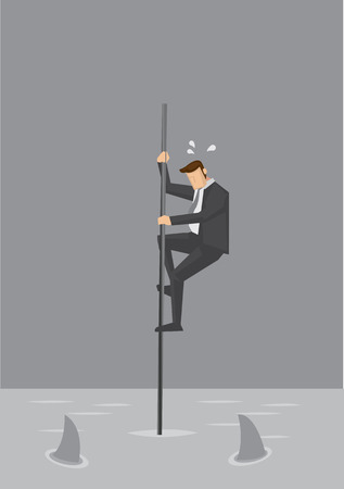 Cartoon businessman holding on to a thin pole in the middle of the sea with sharks circling. Creative illustration on concept on being in a risky position in business.