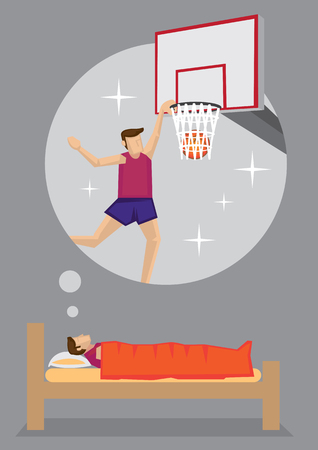 yearning: Young man dreaming of becoming a professional basketball player. Cartoon vector illustration on dream and aspiration concept isolated on grey background. Illustration