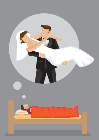Single man lying on bed dreaming about his bride and wedding. Vector cartoon illustration on wedding desire concept theme. Illustration