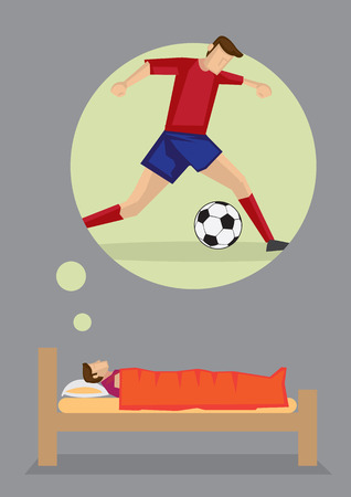yearning: Cartoon man lying on his bed thinking about becoming a soccer player. Vector illustration on dreams and aspiration concept isolated on grey background.