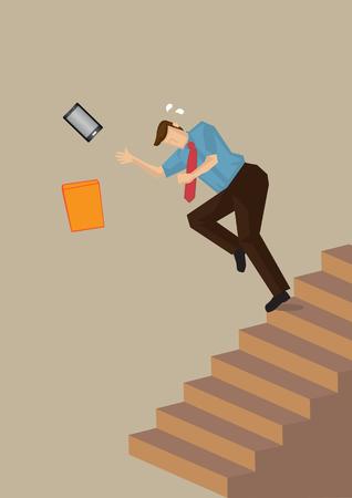 비즈니스 임원 균형을 잃고 계단을 단계를 떨어지는. 중립적 인 색상 일반 배경에 고립 된 작업 안전 개념에 벡터 일러스트 레이 션.