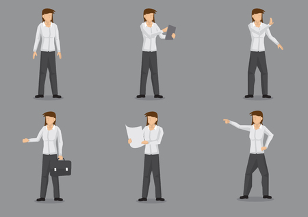 dress shirt: Set of six vector illustrations of female business professional in smart casual dress shirt and trousers. Vector cartoon character design of professional woman isolated on grey background.